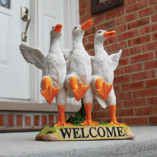 Delightful Dancing Ducks Welcome Statue