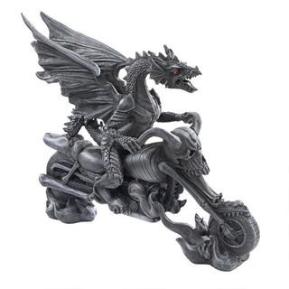 Biker Dragon on Skeleton Chopper Statue