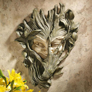 Bashful Wood Sprite: Greenwoman Wall Sculpture